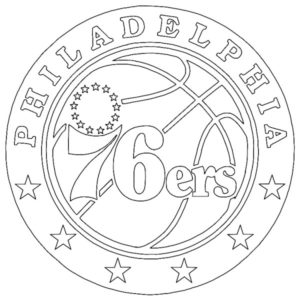 Philadelphia 76ers logo coloring page black and white