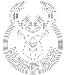 Milwaukee Bucks logo coloring page black and white