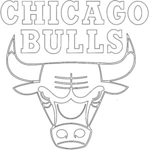Chicago Bulls logo coloring page black and white