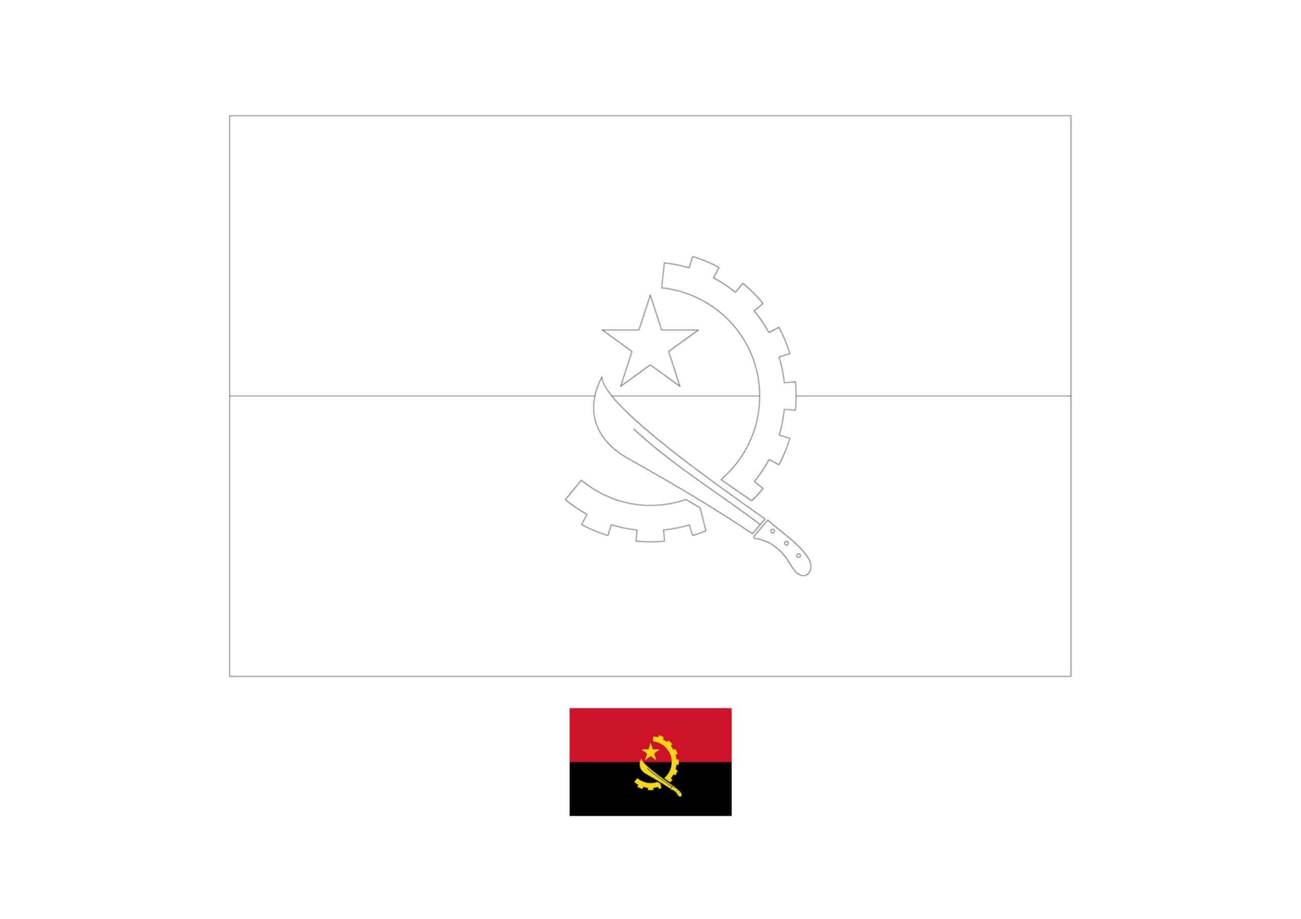 Drapeau de l'Angola Coloriage