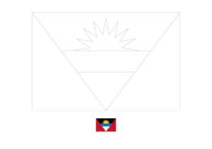 Antigua and Barbuda flag coloring page with a sample