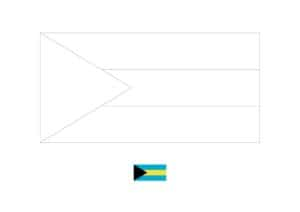 Bahamas flag coloring page with a sample