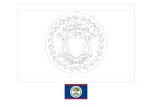 Belize flag coloring page with a sample