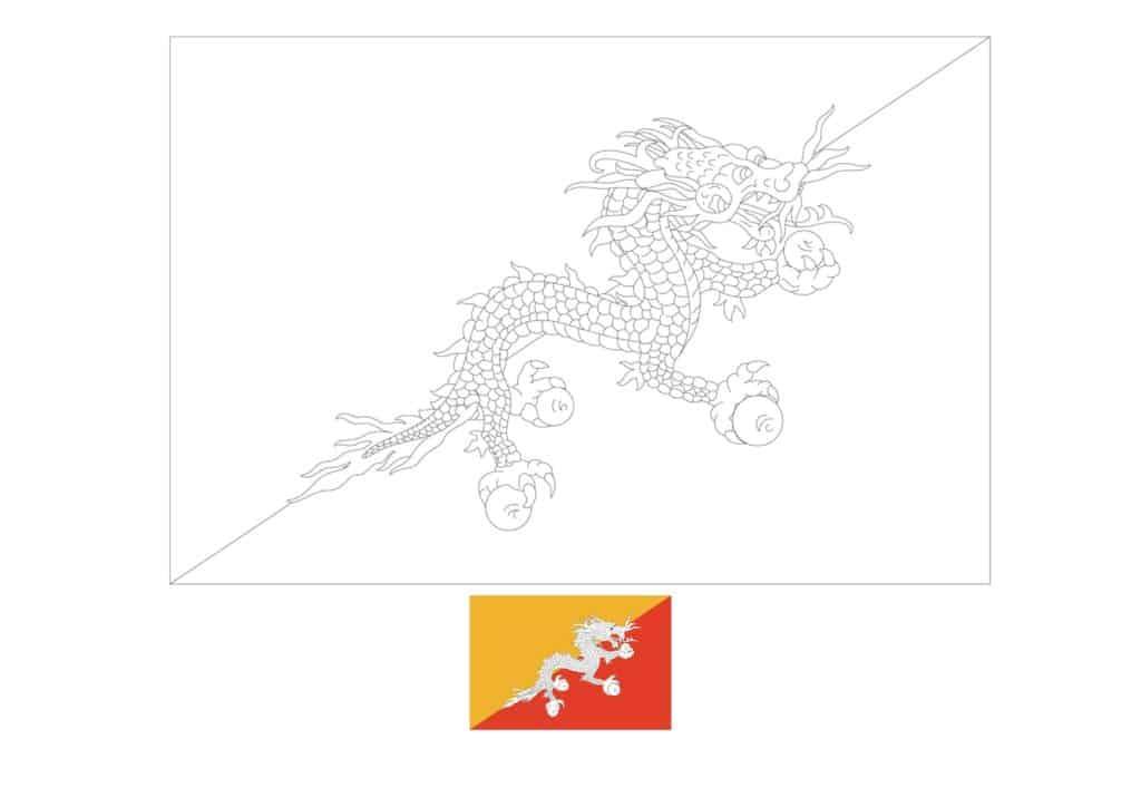 Drapeau du Bhoutan Coloriage