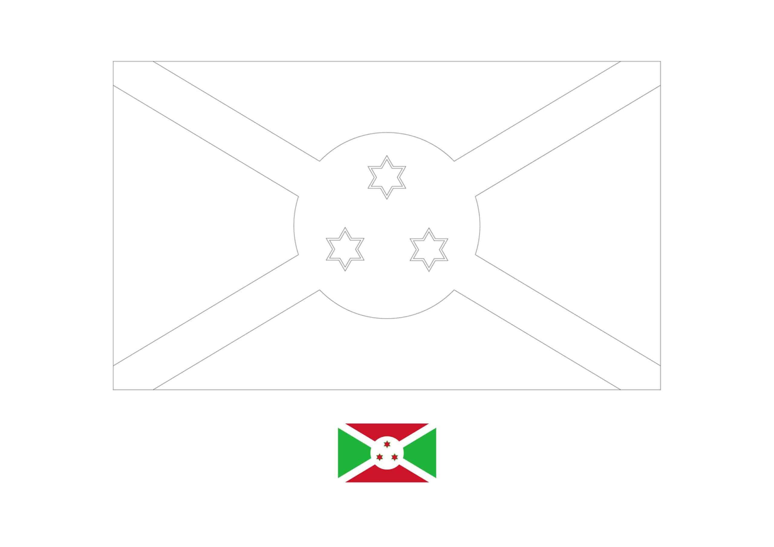 Drapeau du Burundi Coloriage