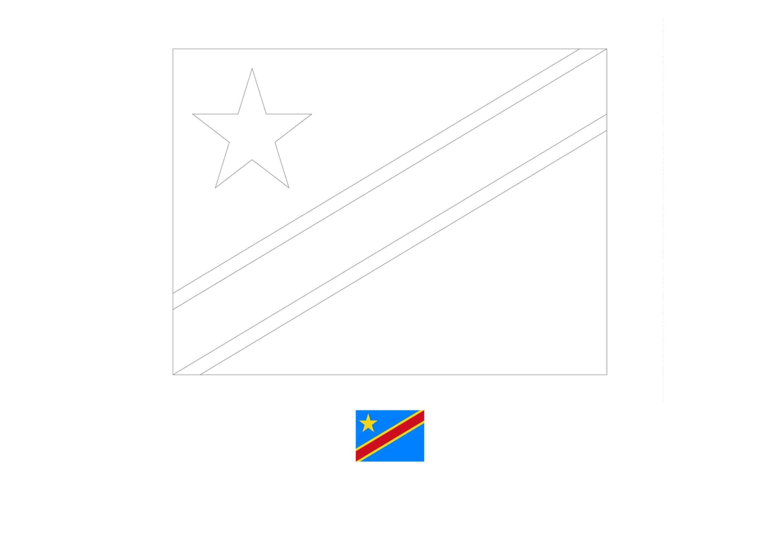Congo Kinshasa flag coloring page with a sample