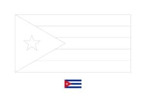 Cuba flag coloring page with a sample