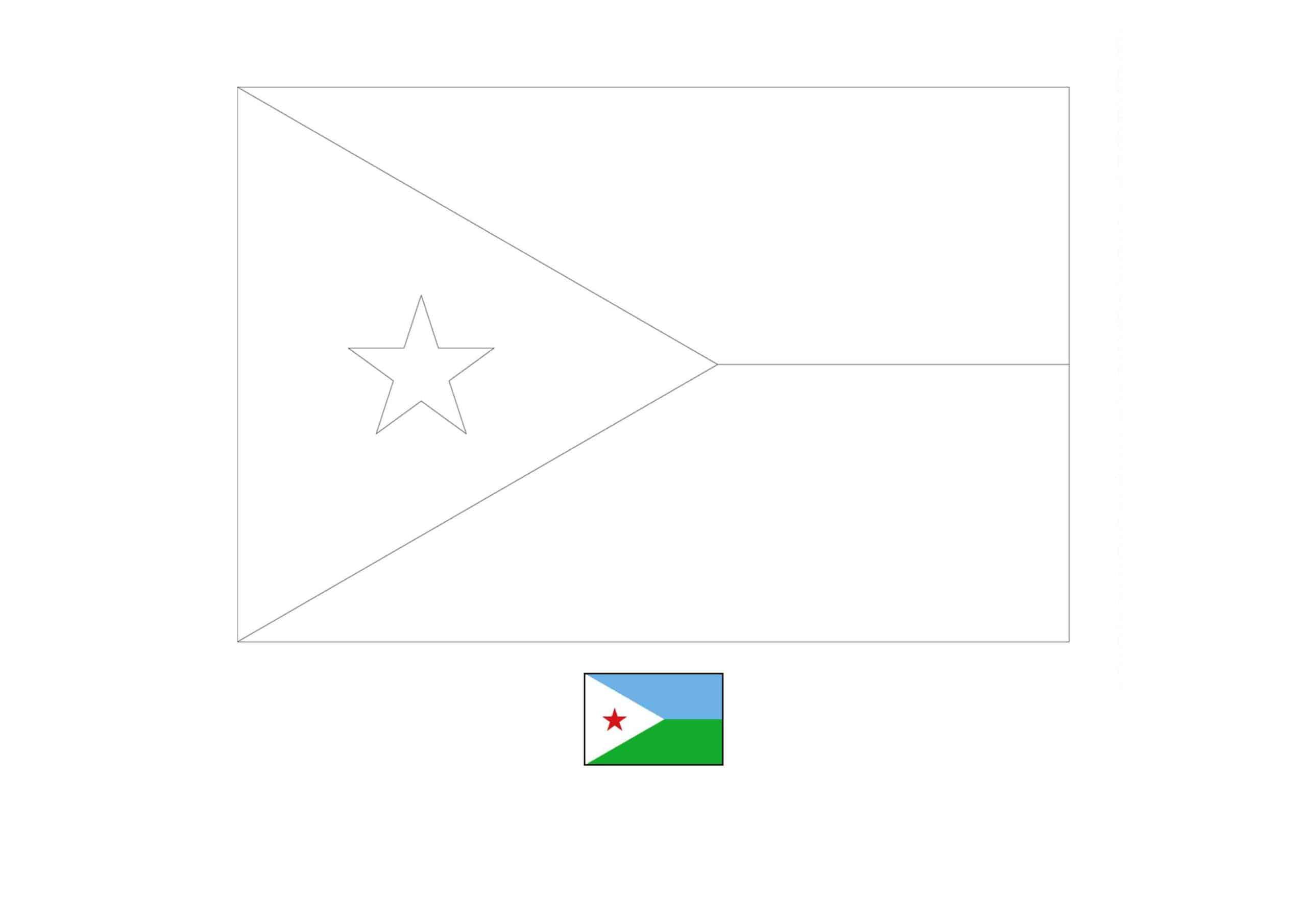 Drapeau de Djibouti Coloriage