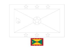 Grenada flag coloring page with a sample