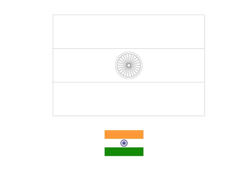 Drapeau de l'Inde Coloriage