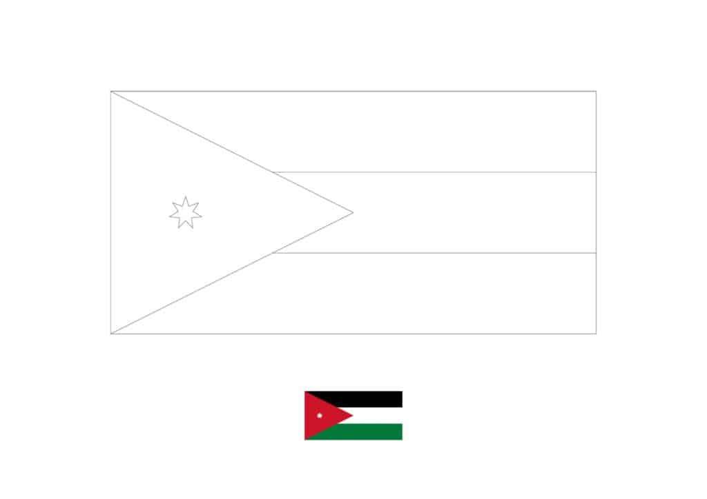 Drapeau de la Jordanie Coloriage