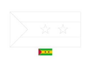 São Tomé and Príncipe flag coloring page with a sample