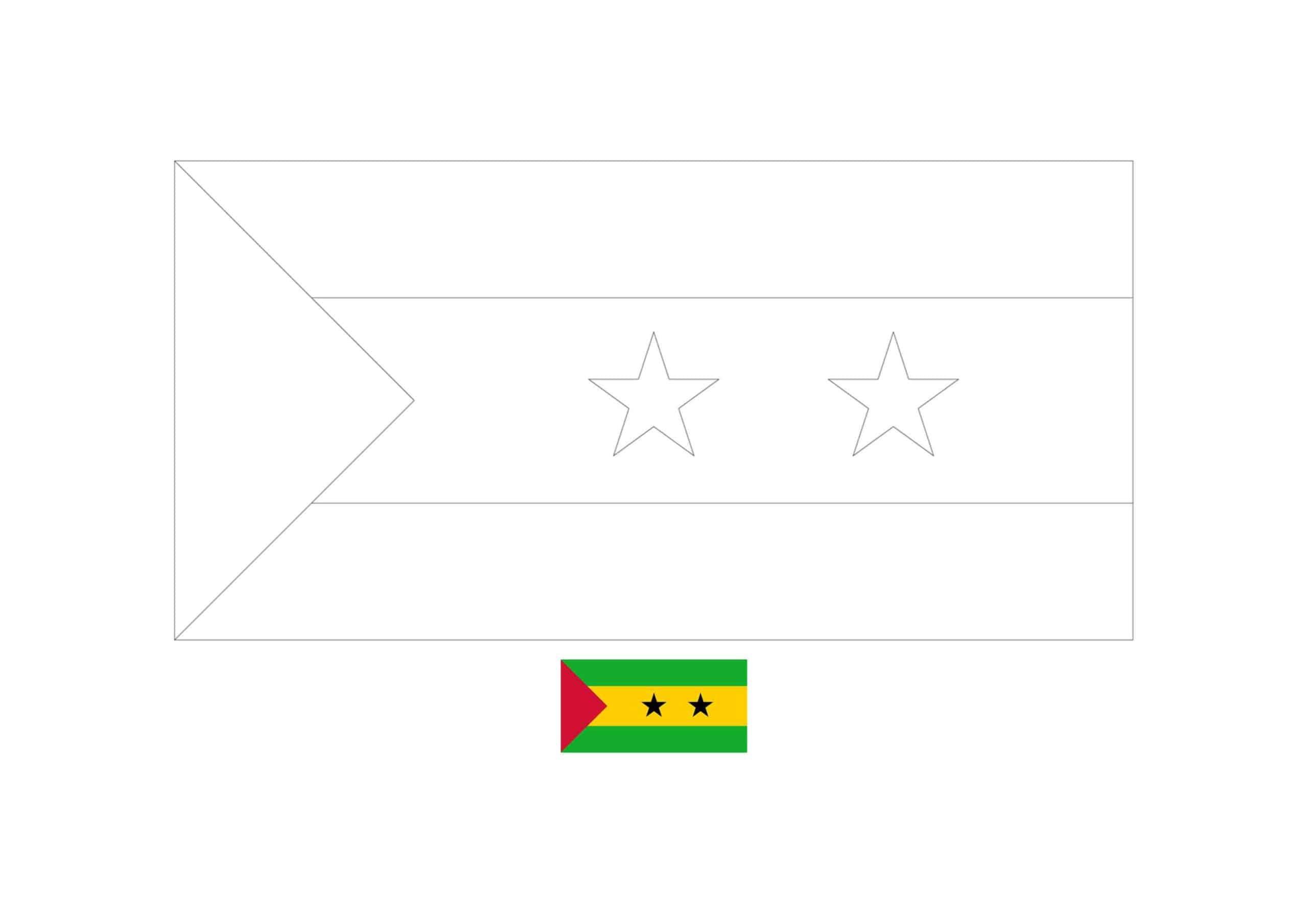 Drapeau de São Tomé et Príncipe Coloriage