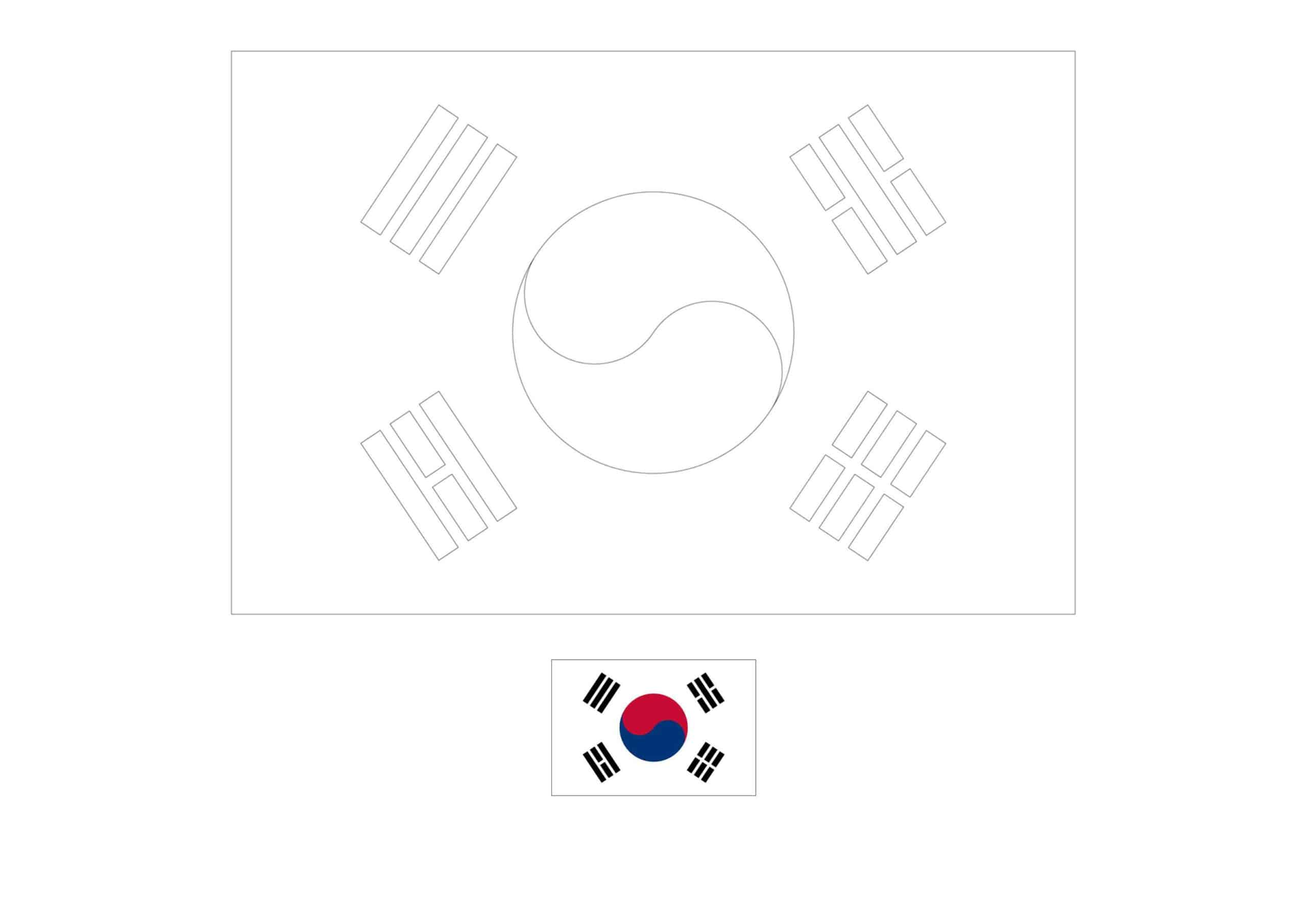 Drapeau de Coloriage Corée du Sud