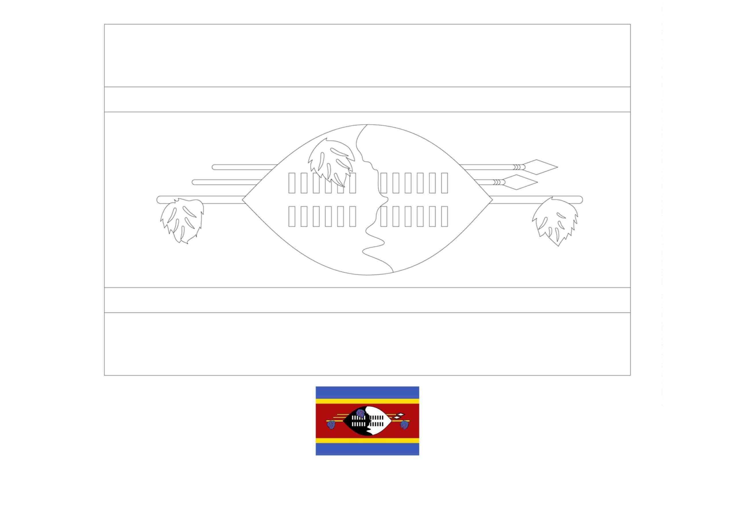 Drapeau du Swaziland Coloriage