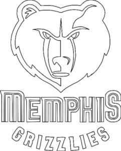 Memphis Grizzlies logo coloring page black and white