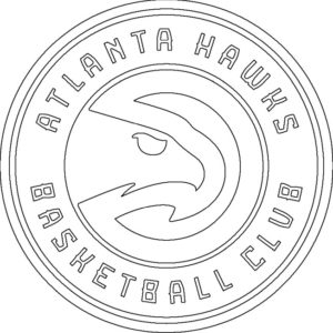 Atlanta Hawks logo coloring page black and white