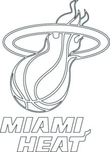 Miami Heat logo coloring page black and white