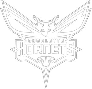Charlotte Hornets logo coloring page black and white