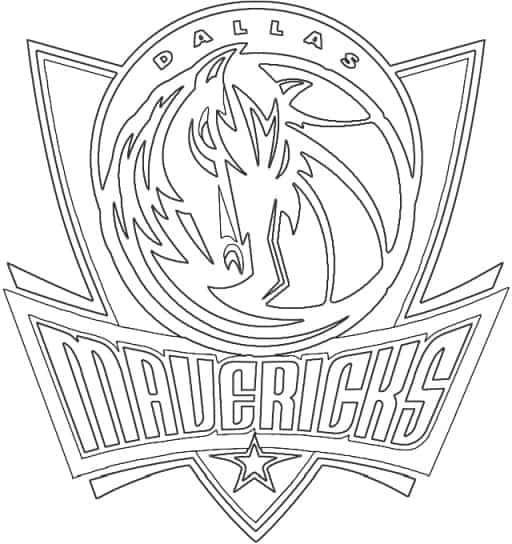 Dallas Mavericks logo coloring page black and white