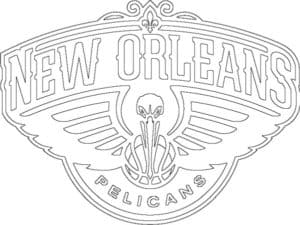 New Orleans Pelicans logo coloring page black and white