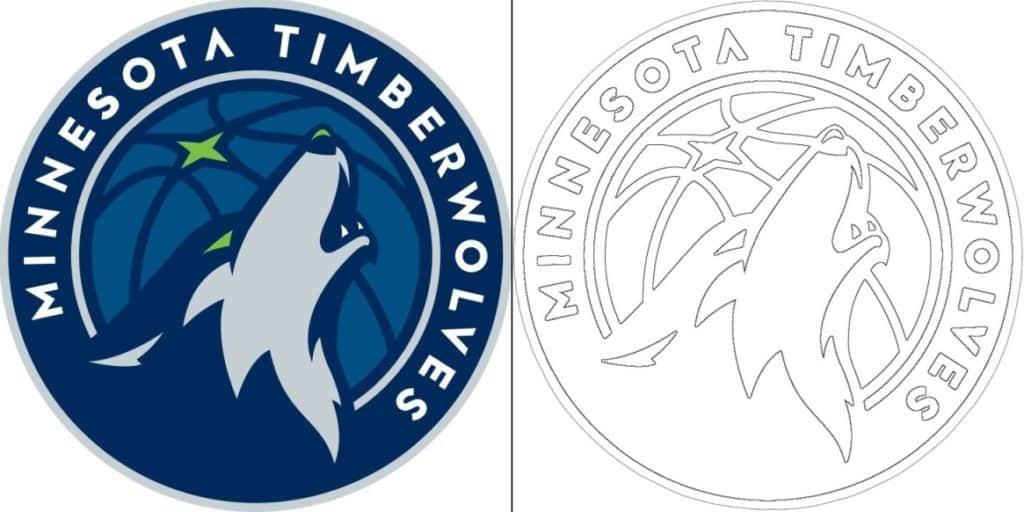 Coloriage Logo avec un échantillon de Minnesota Timberwolves