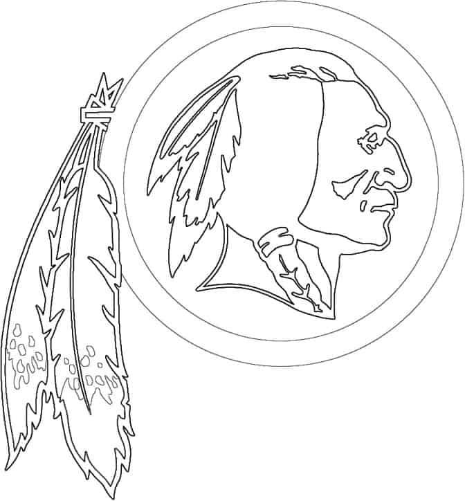 Washington Redskins logo coloring page black and white