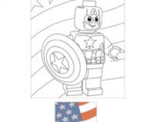 Lego Captain America USA Drapeau Coloriage à Imprimer Gratuit