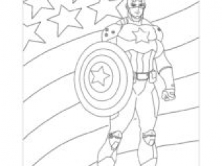 Coloriage Captain America USA Drapeau