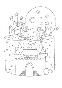 Birthday Unicorn cake coloring page