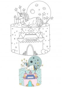 Birthday Unicorn castle cake coloring page
