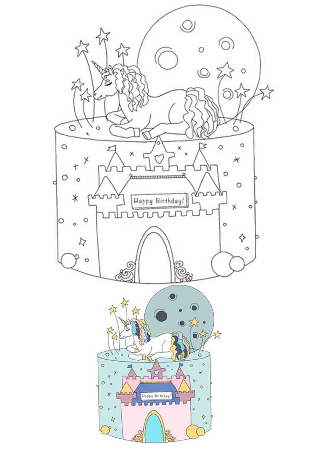 Birthday Unicorn castle cake coloring page