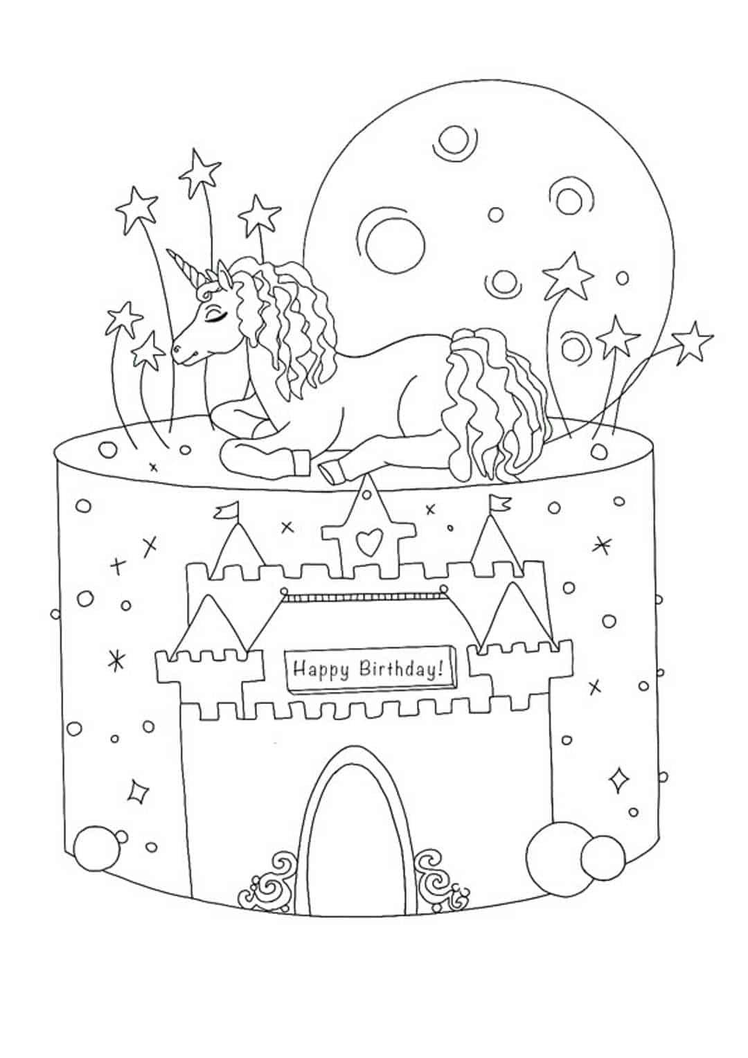 Birthday Unicorn cake coloring page