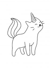 Cat Unicorn coloring page