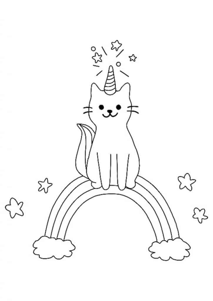 Cat Unicorn rainbow coloring page