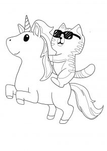 Cat riding unicorn coloring page