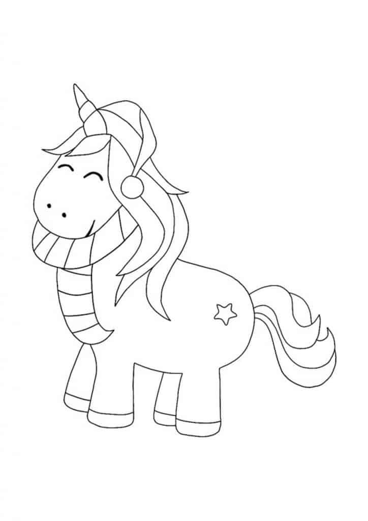 Christmas Unicorn coloring page