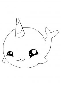 Cute Kawaii Fish Unicorn coloring page