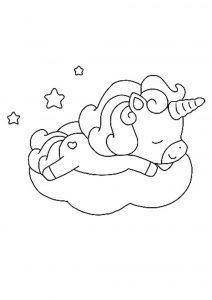Cute baby unicorn dreaming coloring page