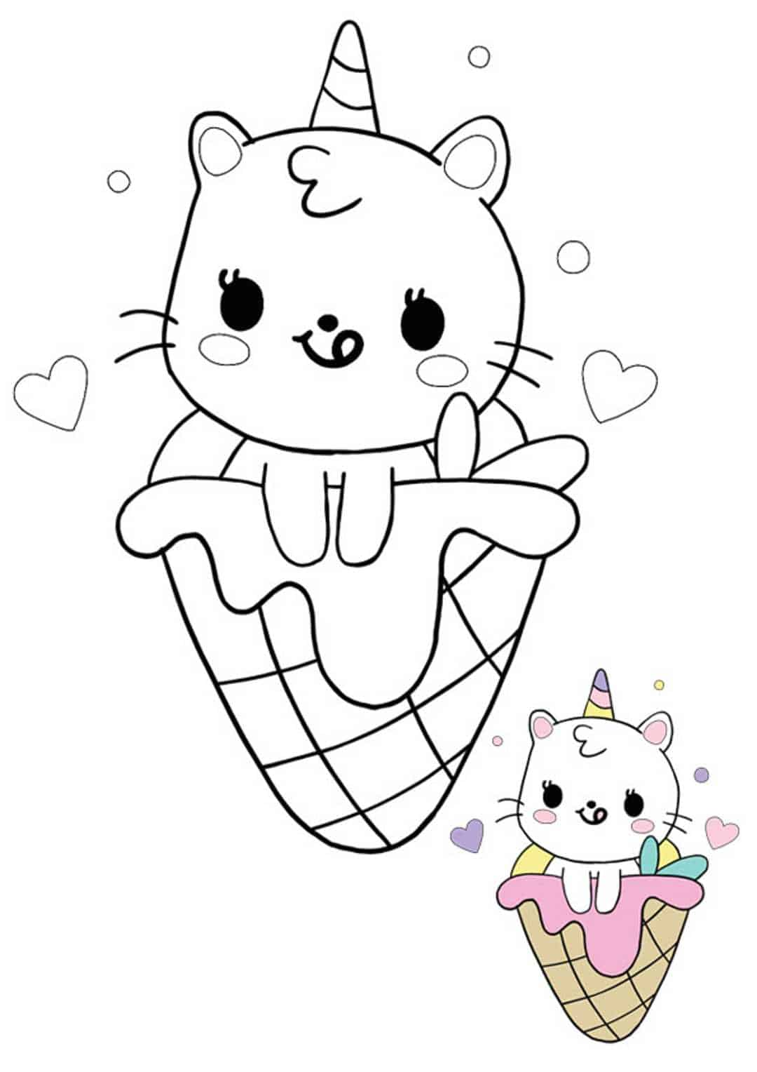 Cute kawaii unicorn cat mermaid ice cream coloring page with sample