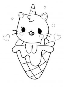 Cute kawaii unicorn cat mermaid in ice cream coloring page