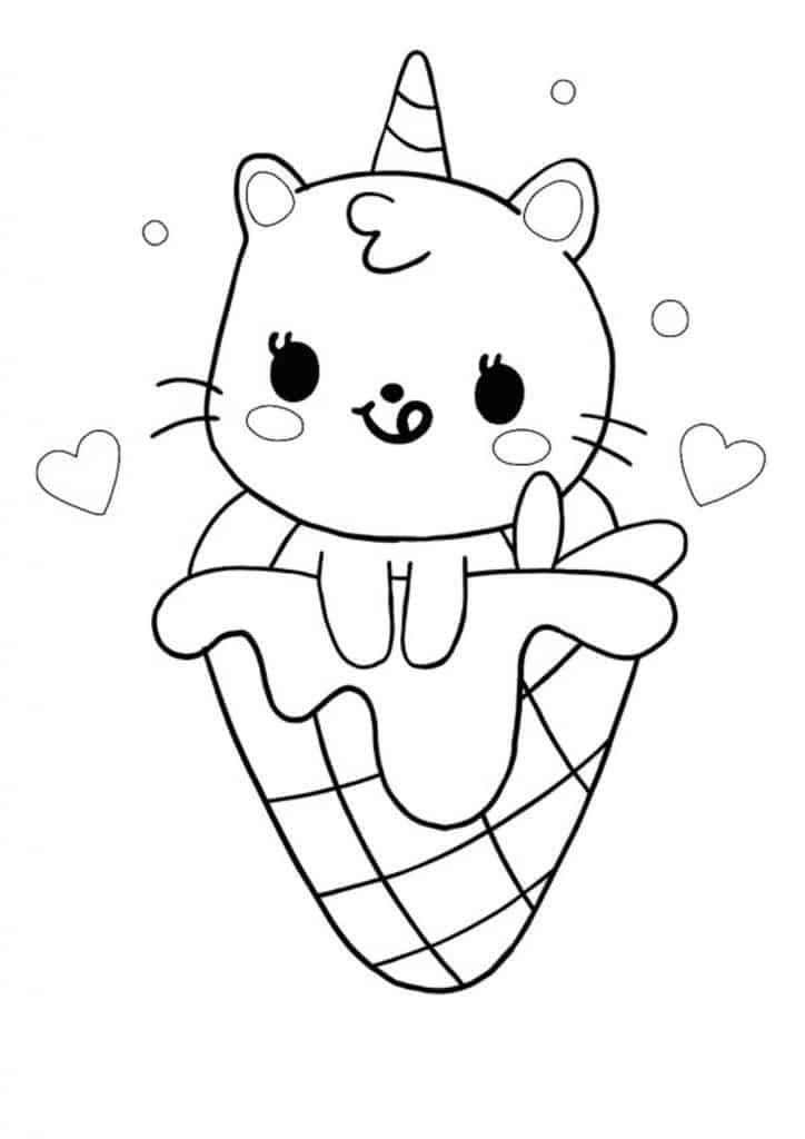Cute kawaii unicorn cat mermaid in ice cream coloring page