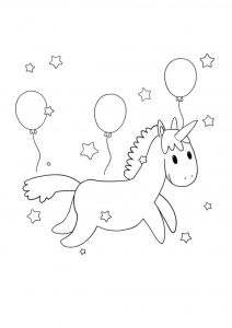 Cute kawaii unicorn with balloons coloring page