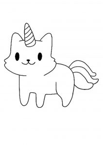 Cute little cat unicorn coloring page