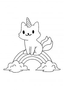 Cute little cat unicorn rainbow coloring page