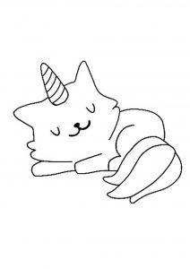 Cute little cat unicorn sleeping coloring page
