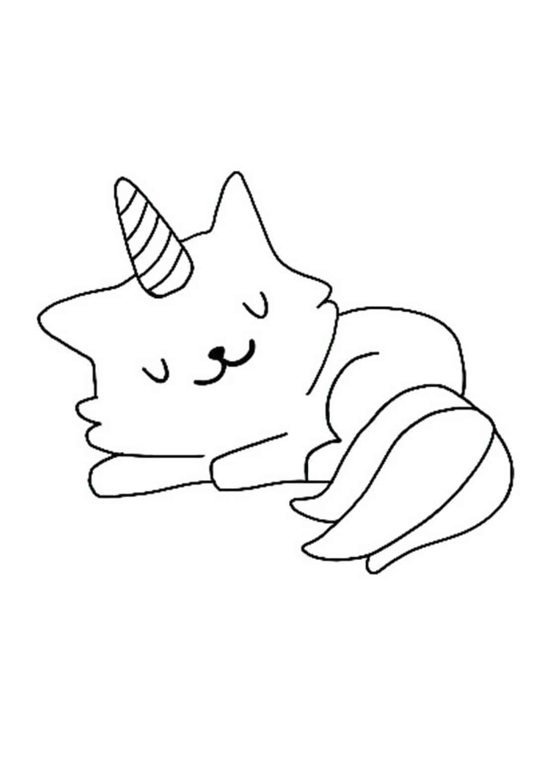 Coloriage petit Licorne chat