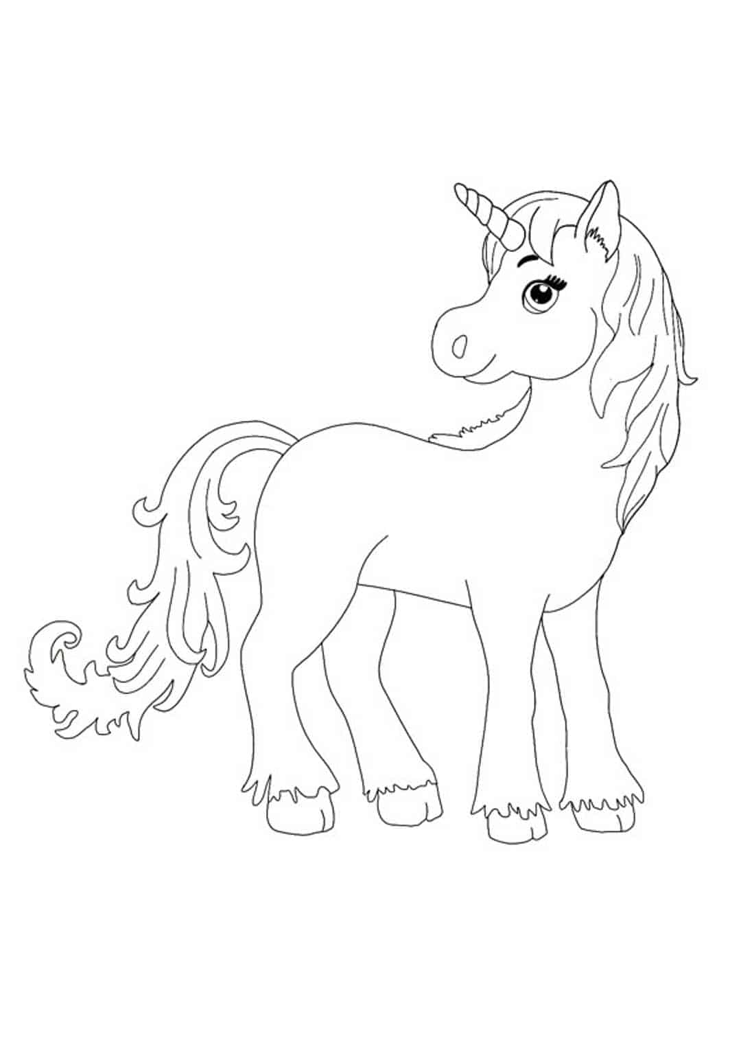 Cute little unicorn coloring page