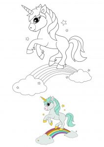 Cute magical unicorn and rainbow coloring page with sample