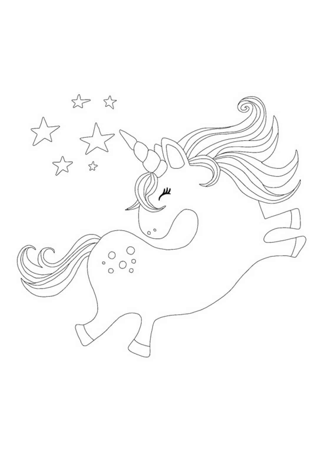 Cute unicorn stars coloring page